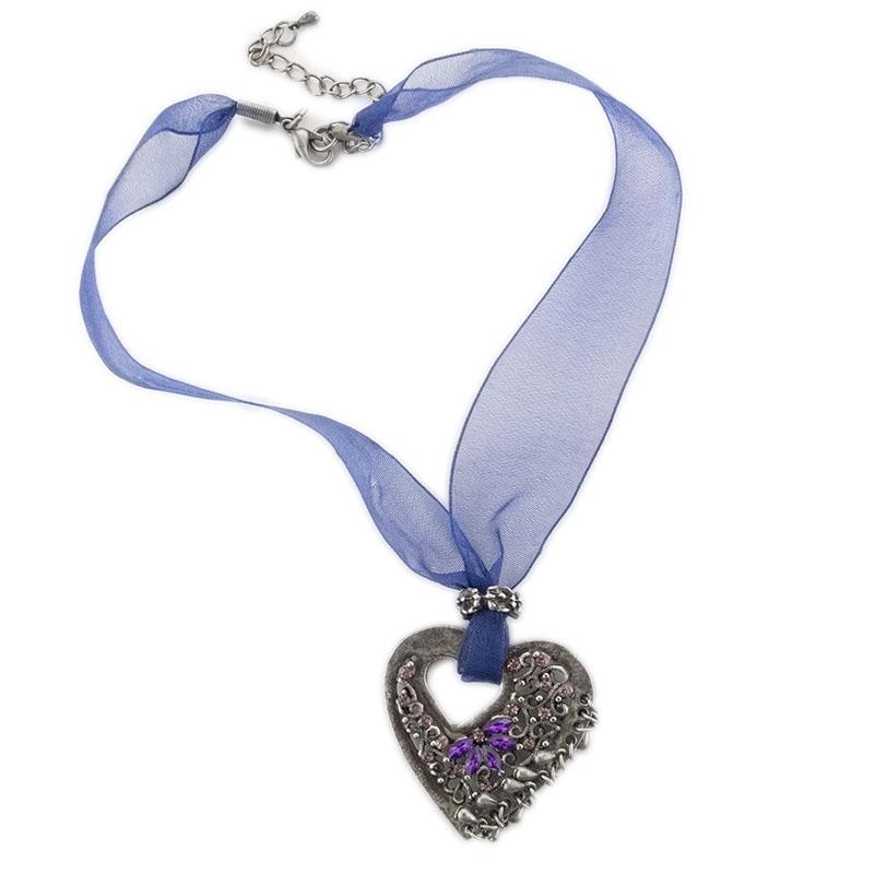 Υφασμάτινο τσόκερ οργάντζα με μεταλλική καρδιά και στρας στο Studio ... e83511534d0