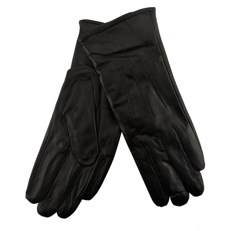 bda2c3317a Μαύρα δερμάτινα γυναικεία γάντια με fleece επένδυση στο Studio Accessori