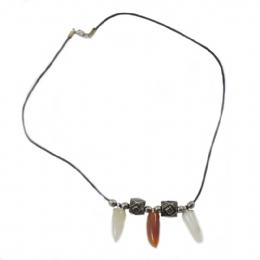 Δερμάτινο unisex κολιέ με τυχερές πέτρες cdfe49178a4