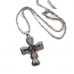 Τιρκουάζ σταυρός από σμάλτο με λουλουδάκι και λευκά στρας eb722ae0030