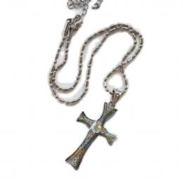 Λεπτός πράσινος σταυρός από σμάλτο με λευκά στρας d5314cbce50