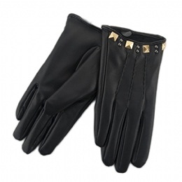 bdf9f242a5 Μαύρα συνθετικά γυναικεία γάντια με τρουκς