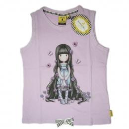 Ροζ βαμβακερό αμάνικο μπλουζάκι Santoro 605b930b2c7