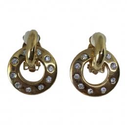 Κρεμαστοί κρίκοι κλιπ σκουλαρίκια με στρας dfb671ee974